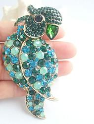 Women Accessories Gold-tone Turquoise Green Rhinestone Crystal Parrot Brooch Art Deco Women Jewelry