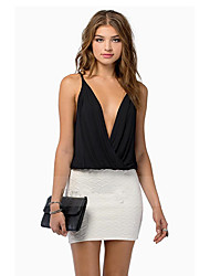 you&meWomen's Bodycon/Beach/Casual Straps/V-Neck Sleeveless T-Shirts (Chiffon/Others/Silk)