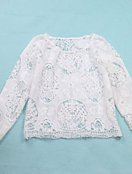 Women's White Hook Flower Hollow Out Lace Long Sleeve Jumper