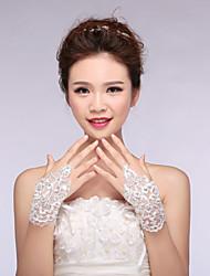 Bridal Gloves Lace/Elastic Satin Wrist Length Wedding/Party Fashion Glove White