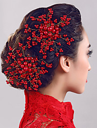 Women Pearl/Rhinestone Flowers With Rhinestone Wedding/Party Headpiece