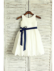 A-line Tea-length Flower Girl Dress - Taffeta Sleeveless Jewel with