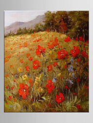 peinture à l'huile abstraite fleur main toile peinte avec la main tendue encadrée