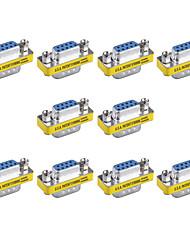 9pin vga masculinos para femininos mini-VGA adaptadores trocador de gênero (10 pcs)