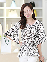 Women's Casual/Daily Simple Summer Blouse,Print Round Neck Short Sleeve White Thin