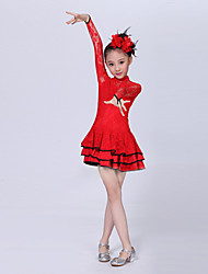 Latin Dance Performance Dresses Children's Fashion Performance Polyester Cascading Ruffle/Lace Dress Black/Red/Yellow Kids Dance Costumes