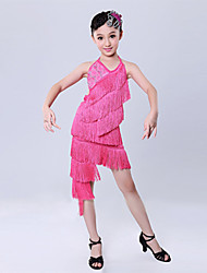 Latin Dance Performance Outfits Children's Sweet Irregular Performance Polyester Tassel Outfit Fuchsia/Red Kids Dance Costumes