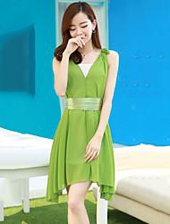 Women's Casual Loose Dress , Strap / Deep V Knee-length Chiffon