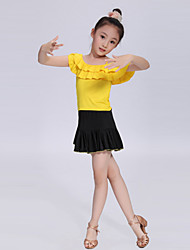 Latin Dance Performance Outfits Children's Performance/Training Polyester Pleated Outfit Black/Blue/Fuchsia/Red/Yellow Kids Dance Costumes