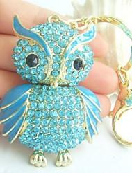Bird Owl KeyChain Bags Handbags Pendant With Blue Rhinestone Crystals