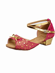 Women's/Kids' Dance Shoes Latin Leather Flat Heel Red/Gold