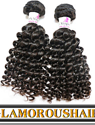 "3 Pcs/Lot 8""-34"" 100 Percent Human Hair Malaysian Virgin Hair Color 1B Curly Remy Hair"