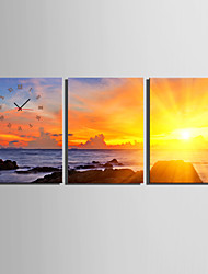 E-Home® der Abend in der Meeresküste Uhr in Segeltuch 3pcs