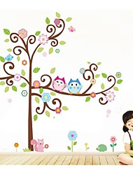 Owl Wall Decals Colorful Tree Wall Arts Zooyoo1001 Cartoon Wall Decal Diy Animal Wall Stickers For Kids Room