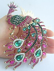 Women Accessories Gold-tone Multicolor Rhinestone Crystal Peacock Brooch Art Deco Brooch Bouquet Women Jewelry
