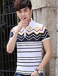 Men's Striped Casual T-Shirt,Cotton Blend Short Sleeve-White