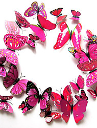 Creative Three-dimensional 3D Butterfly Wall Stickers(12Pieces of Set)