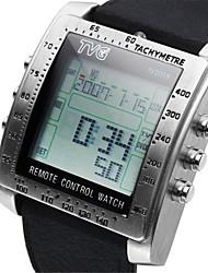 Men's Silicone Strap Digital Remote Control Alarm TV DVD Remote Military Watches