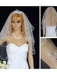 Wedding Veil Two-tier Elbow Veils Tulle Ivory White / Ivory