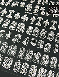 108PCS Mixed Flower Pattern Pink  Nail Art Stickers