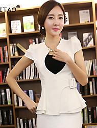 Women's White/Black/Orange Blazer , Casual/Work Short Sleeve