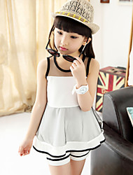 Girl's Cute Contrast Color Medium Sleeveless Clothing Sets (Tees+ Pants)