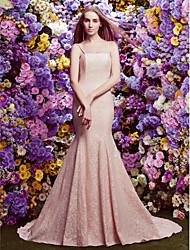 lan ting vestido de casamento Trompete / Sereia - pérola tribunal rosa cintas de espaguete laço trem