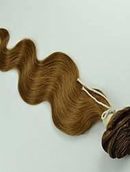 """12 """"-26"""" indiano virgem onda corpo cabelos cheios cabeças clipes de extensões de cabelo castanho claro Cor"""