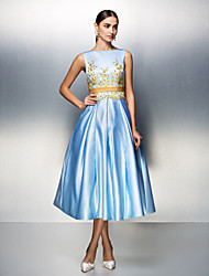 Company Party / Family Gathering Dress - Sky Blue Plus Sizes / Petite Ball Gown Bateau Tea-length Satin