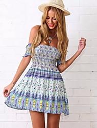 Women's Beach/Casual/Print/Party Short Sleeve Mini Prom Dress (Cotton Blends)