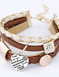 Women's Concise Fashion Wild Heart Pendant Rope Charm Multilayer Bracelet