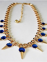 New Arrival Fashional Geometric Exaggerated Rivet Gem Necklace