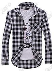 рубашка мужская оптовые Slim Fit случайные&платье плед проверка рубашка корейский стиль 05n4