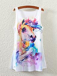 Women's Sleeveless Horse Graphic Printed Vest