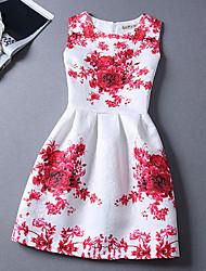 Women's Print Blue/Red Dress , Print/Work Round Neck Sleeveless