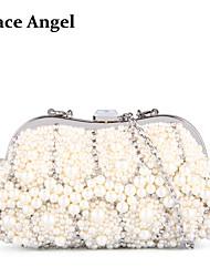 Grace Angel Women's Handmade Full Faux Pearl Beads Rhinestone Bridal Evening Bag Soft Clutch Handbag