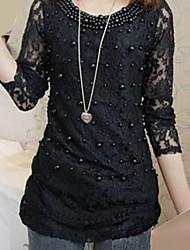 Frauen Perlen schnüren dünnes T-Shirt