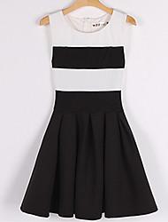 Ya Zhe Women'S Slim Round Neck Black And White Stripe Sleeveless Pleated Dress Female Child