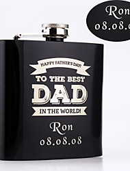 Gift Groomsman Personalized Black Stainless Steel Flasks 6-oz Flask for DAD