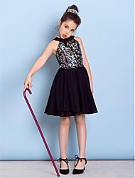 Lanting Bride® Knee-length Chiffon / Sequined Junior Bridesmaid Dress A-line Jewel with Sequins