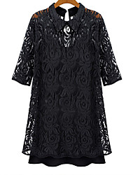 Women's Sexy Casual Lace Cute Party Plus Sizes Inelastic ½ Length Sleeve Above Knee Dress (Lace)