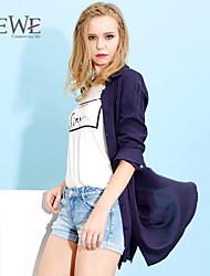 Women's Blue/Yellow Shirt , Casual Long Sleeve
