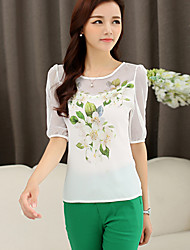 Women's Casual Work Micro Elastic Short Sleeve Regular T-shirt (Chiffon)