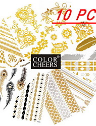 10Pcs All Different Patterns Long Bracelets /Feathers /Flowers Tattoo Sticker(Random Patterns) 15x9CM