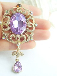 Women Accessories Gold-tone Purple Rhinestone Crystal Flower Brooch Art Deco Brooch Bouquet Women Jewelry