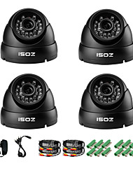 ZOSI® 4 pcs Camera Kit 800TVL IR Cut Outdoor Night Vision CCTV Seurity Dome Camera