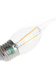 2W E26/E27 Luzes de LED em Vela T 2 LED de Alta Potência 180 lm Branco Quente Decorativa AC 220-240 V 4 pçs