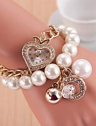 Women's Heart Shaped Dial Case Beads Watch Brand Fashion Quartz Watch