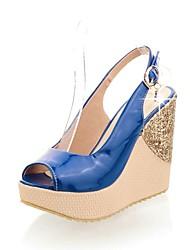 Women's Shoes Wedge Heel Wedges/Peep Toe /Ankle Strap/Slingback Sandals Dress Blue/Black/Red