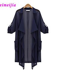 WeiMeiJia® Women's Casual Plus Size Inelastic Long Sleeve Long Shirt (Chiffon)
